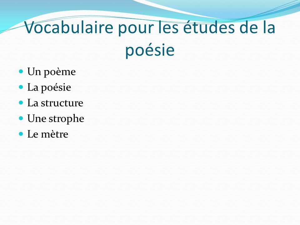 Vocabulaire pour les études de la poésie Un poème La poésie La structure Une strophe Le mètre