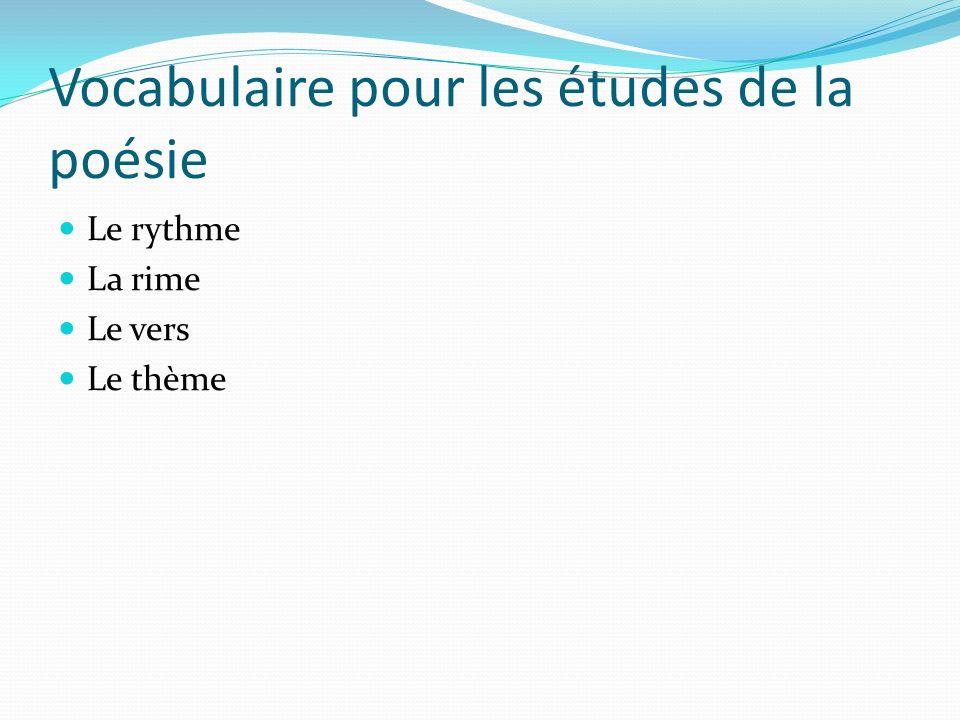 Vocabulaire pour les études de la poésie Le rythme La rime Le vers Le thème