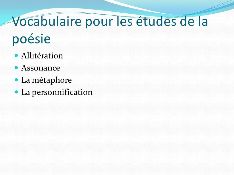 Vocabulaire pour les études de la poésie Allitération Assonance La métaphore La personnification