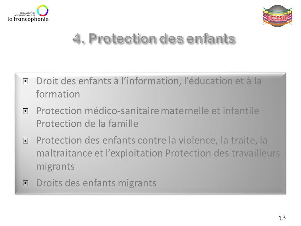 13 Droit des enfants à linformation, léducation et à la formation Protection médico-sanitaire maternelle et infantile Protection de la famille Protect