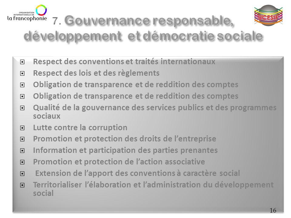 Respect des conventions et traités internationaux Respect des lois et des règlements Obligation de transparence et de reddition des comptes Qualité de