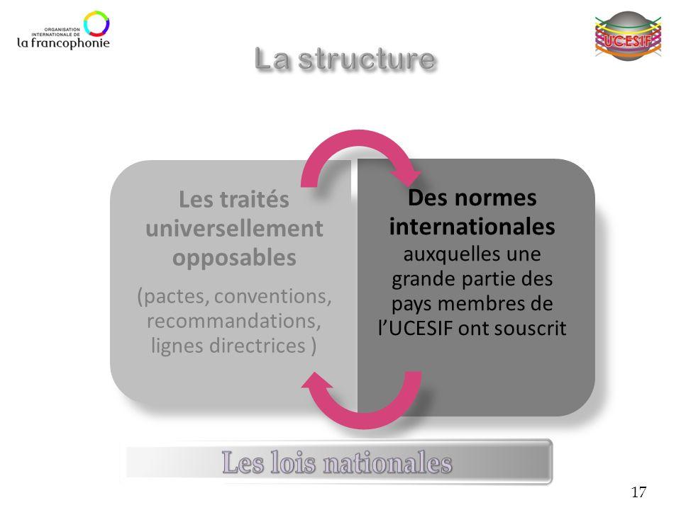 Les traités universellement opposables (pactes, conventions, recommandations, lignes directrices ) Des normes internationales auxquelles une grande pa
