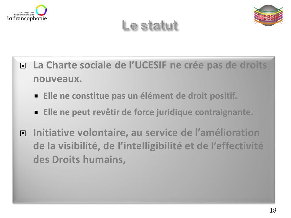 La Charte sociale de lUCESIF ne crée pas de droits nouveaux. Elle ne constitue pas un élément de droit positif. Elle ne peut revêtir de force juridiqu