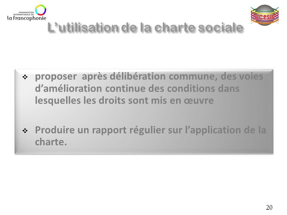 proposer après délibération commune, des voies damélioration continue des conditions dans lesquelles les droits sont mis en œuvre Produire un rapport