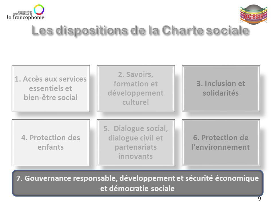 1. Accès aux services essentiels et bien-être social 2. Savoirs, formation et développement culturel 3. Inclusion et solidarités 4. Protection des enf