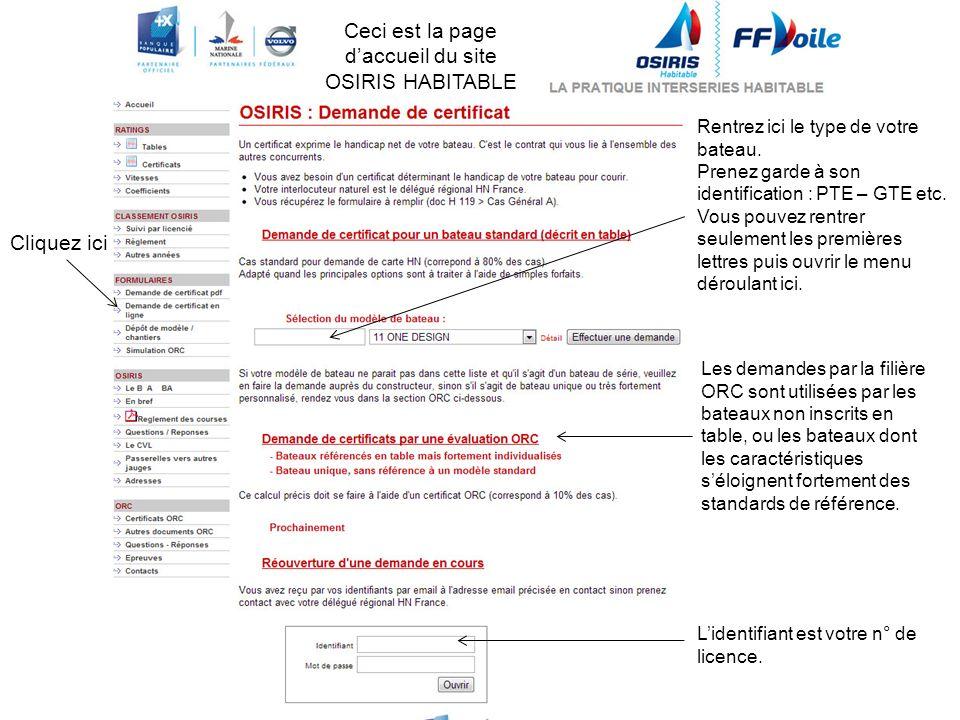 Cliquez ici Ceci est la page daccueil du site OSIRIS HABITABLE Lidentifiant est votre n° de licence.