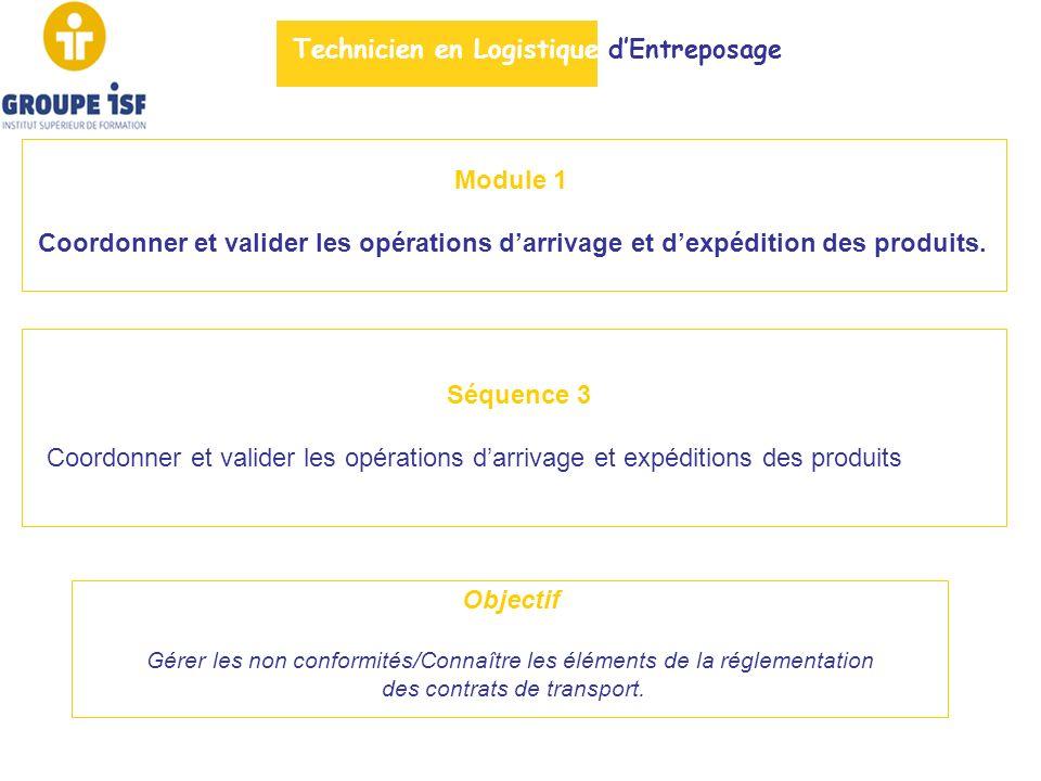 Module 1 Coordonner et valider les opérations darrivage et dexpédition des produits. Séquence 3 Coordonner et valider les opérations darrivage et expé