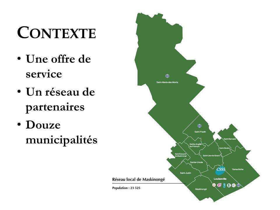 C ONTEXTE Une offre de service Un réseau de partenaires Douze municipalités