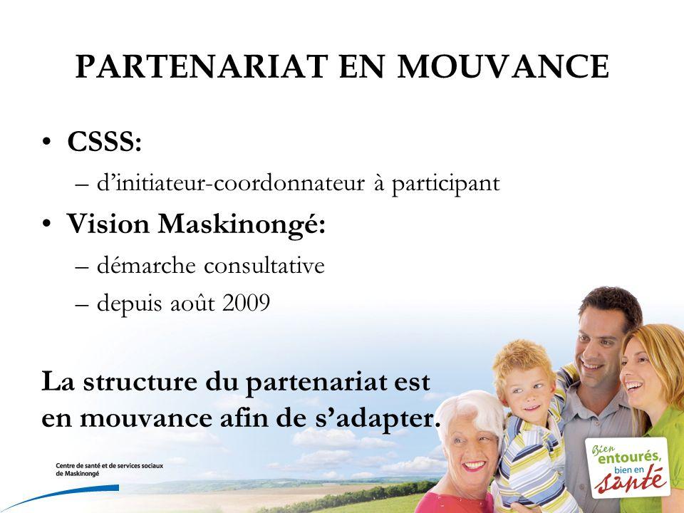 PARTENARIAT EN MOUVANCE CSSS: –dinitiateur-coordonnateur à participant Vision Maskinongé: –démarche consultative –depuis août 2009 La structure du partenariat est en mouvance afin de sadapter.