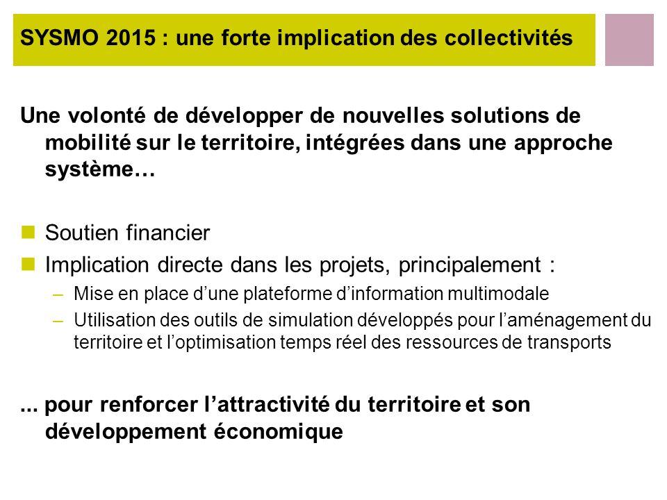SYSMO 2015 : une forte implication des collectivités Une volonté de développer de nouvelles solutions de mobilité sur le territoire, intégrées dans un