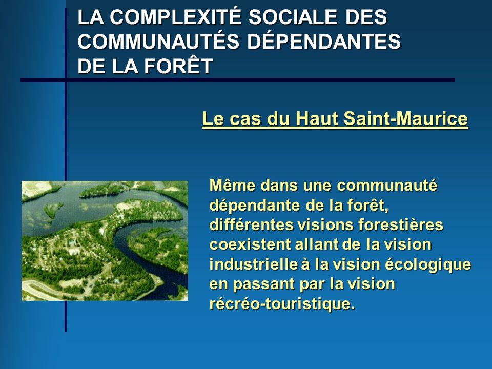 LA COMPLEXITÉ SOCIALE DES COMMUNAUTÉS DÉPENDANTES DE LA FORÊT Le cas du Haut Saint-Maurice Même dans une communauté dépendante de la forêt, différente