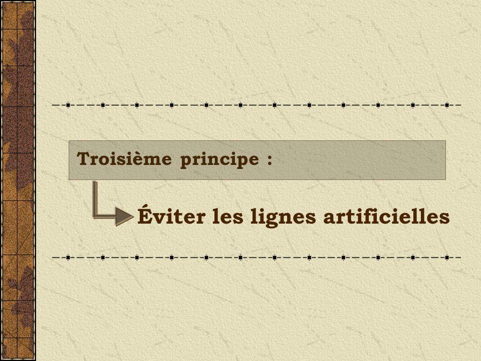 Éviter les lignes artificielles Troisième principe :