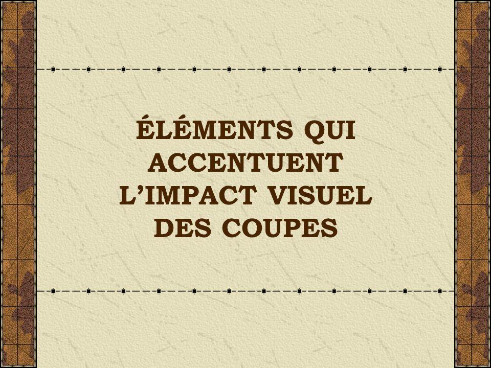 ÉLÉMENTS QUI ACCENTUENT LIMPACT VISUEL DES COUPES