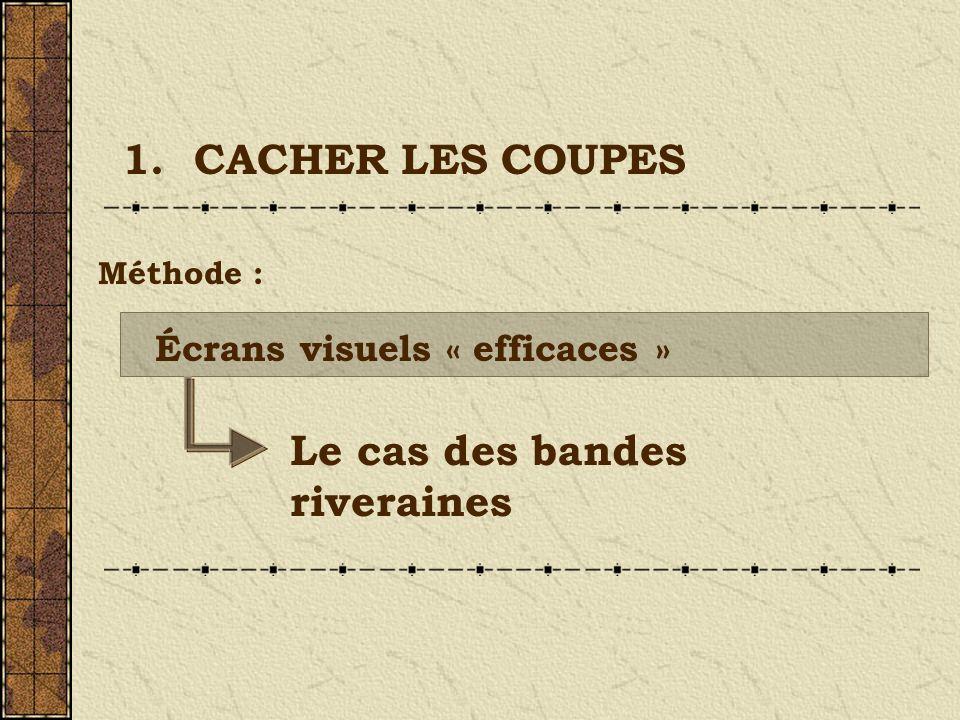 Le cas des bandes riveraines Écrans visuels « efficaces » 1. CACHER LES COUPES Méthode :