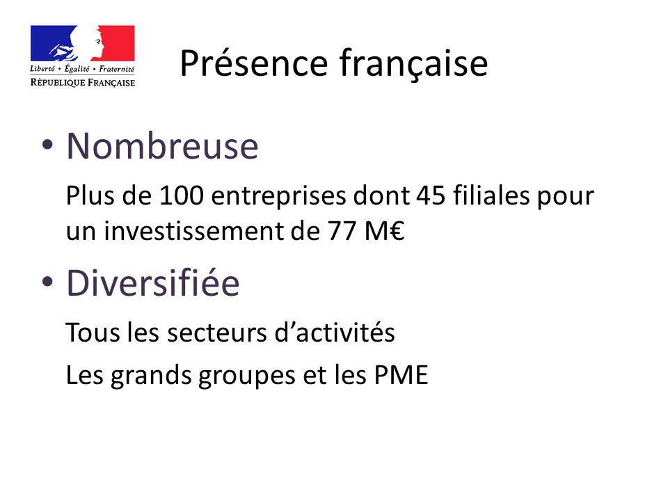 Présence française Nombreuse Plus de 100 entreprises dont 45 filiales pour un investissement de 77 M Diversifiée Tous les secteurs dactivités Les grands groupes et les PME