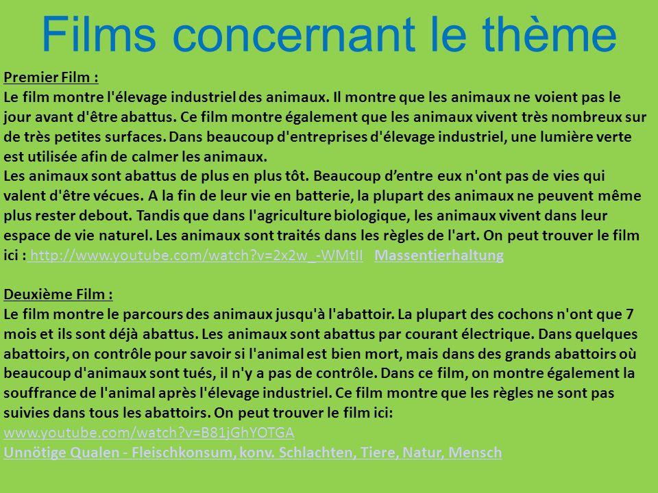 Films concernant le thème Premier Film : Le film montre l'élevage industriel des animaux. Il montre que les animaux ne voient pas le jour avant d'être