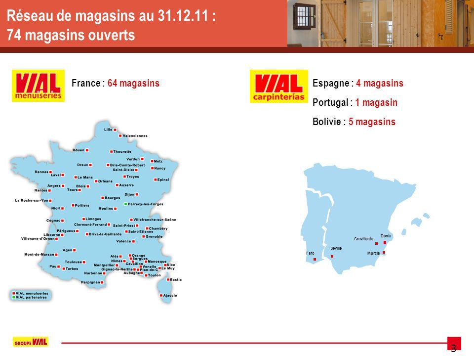 3 Réseau de magasins au 31.12.11 : 74 magasins ouverts France : 64 magasinsEspagne : 4 magasins Portugal : 1 magasin Bolivie : 5 magasins Crevillente Murcia Denia Seville Faro