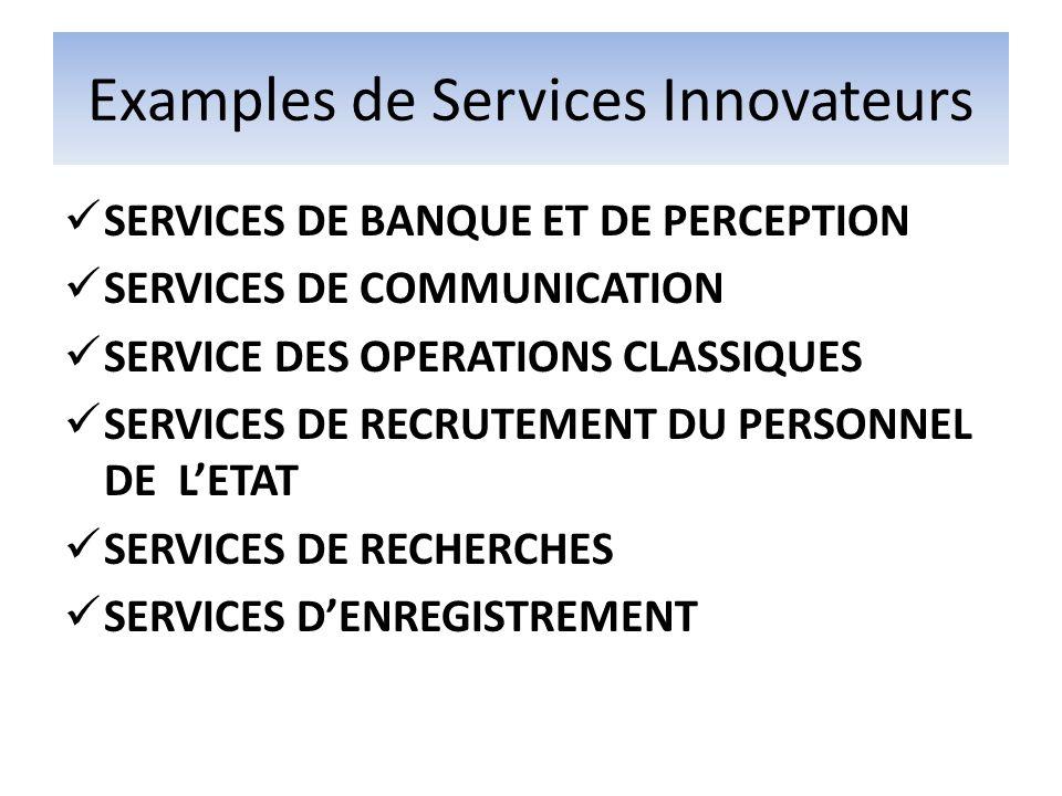 Examples de Services Innovateurs SERVICES DE BANQUE ET DE PERCEPTION SERVICES DE COMMUNICATION SERVICE DES OPERATIONS CLASSIQUES SERVICES DE RECRUTEMENT DU PERSONNEL DE LETAT SERVICES DE RECHERCHES SERVICES DENREGISTREMENT