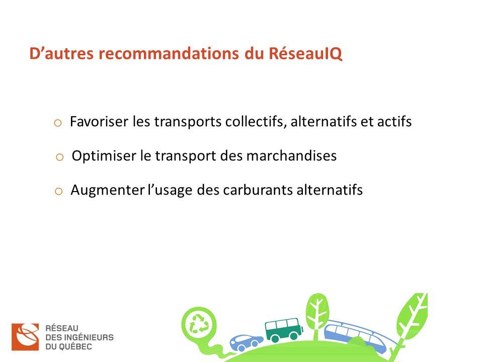 Dautres recommandations du RéseauIQ o Favoriser les transports collectifs, alternatifs et actifs o Optimiser le transport des marchandises o Augmenter