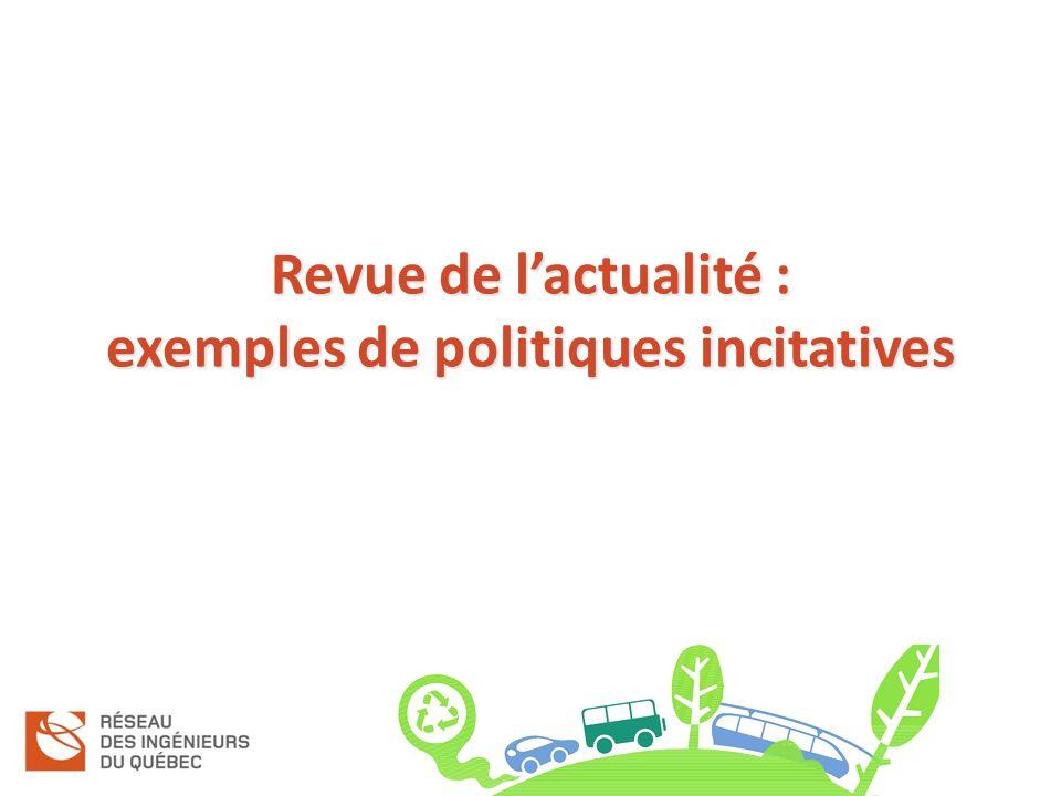 Revue de lactualité : exemples de politiques incitatives