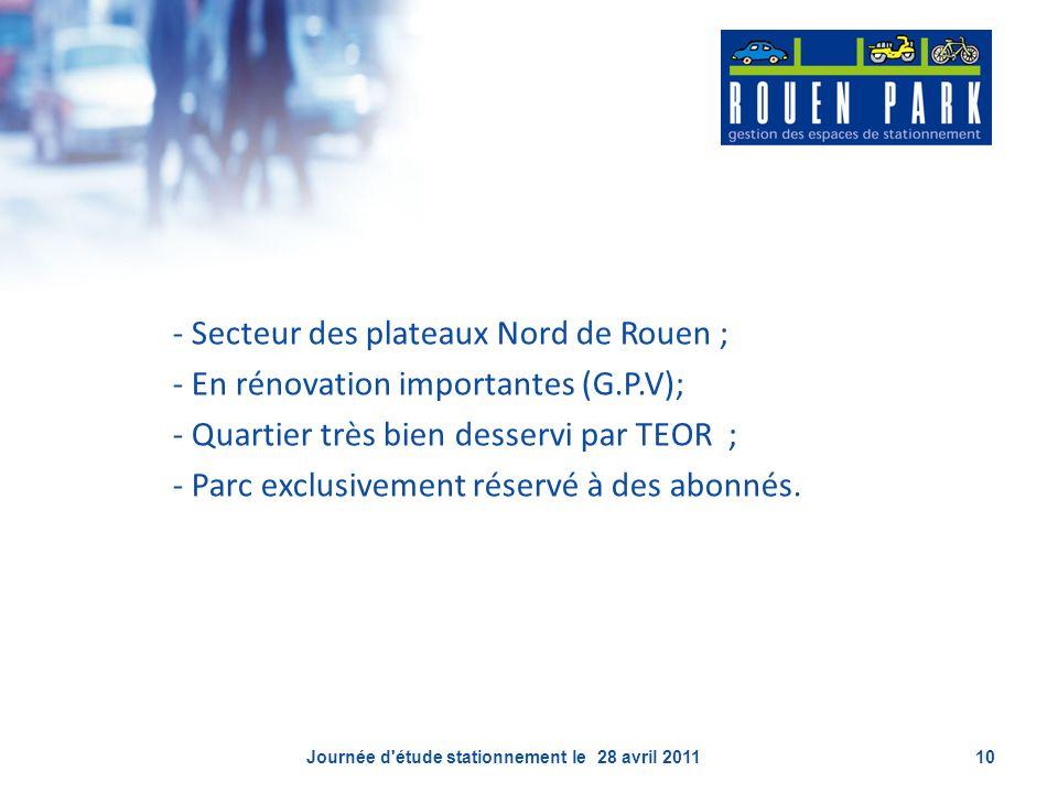 - Secteur des plateaux Nord de Rouen ; - En rénovation importantes (G.P.V); - Quartier très bien desservi par TEOR ; - Parc exclusivement réservé à de
