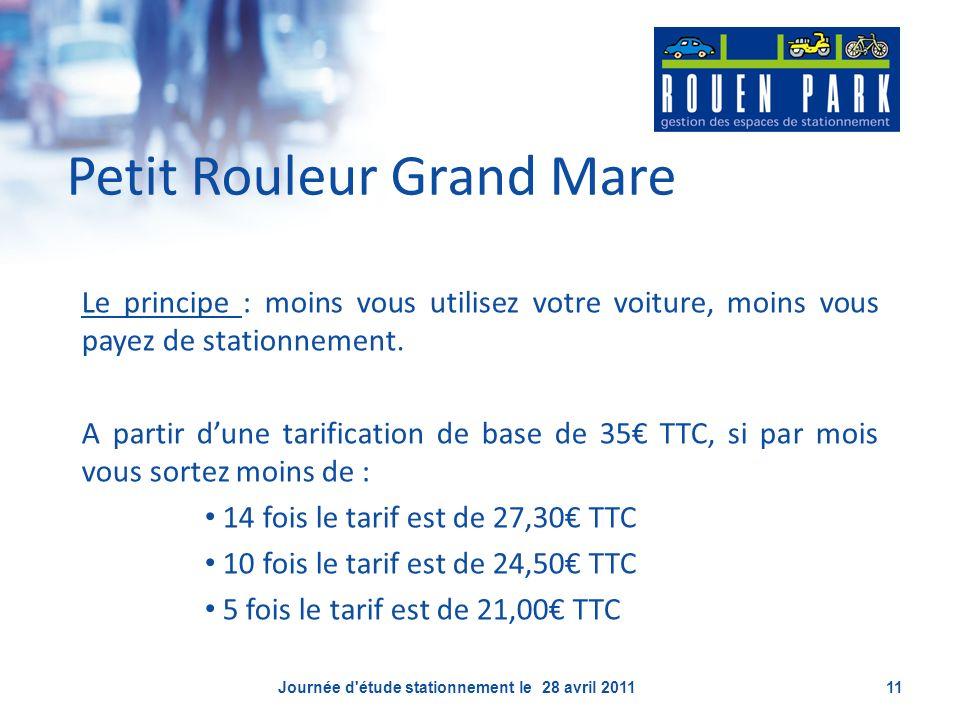 Petit Rouleur Grand Mare Le principe : moins vous utilisez votre voiture, moins vous payez de stationnement. A partir dune tarification de base de 35