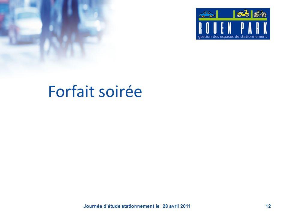 Forfait soirée Journée d'étude stationnement le 28 avril 201112