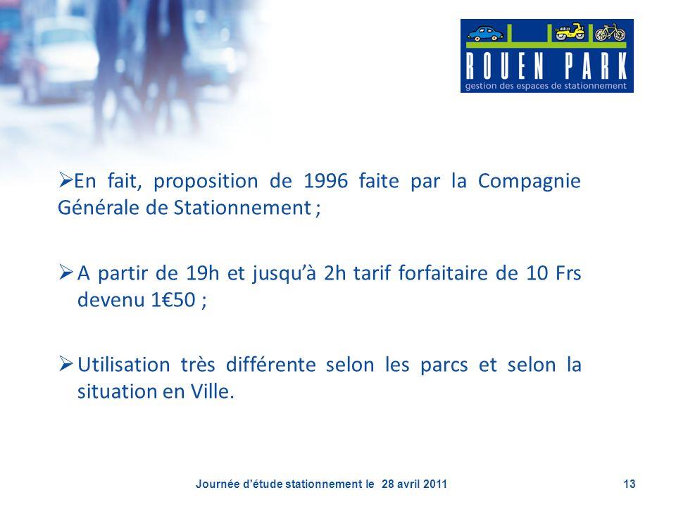En fait, proposition de 1996 faite par la Compagnie Générale de Stationnement ; A partir de 19h et jusquà 2h tarif forfaitaire de 10 Frs devenu 150 ;
