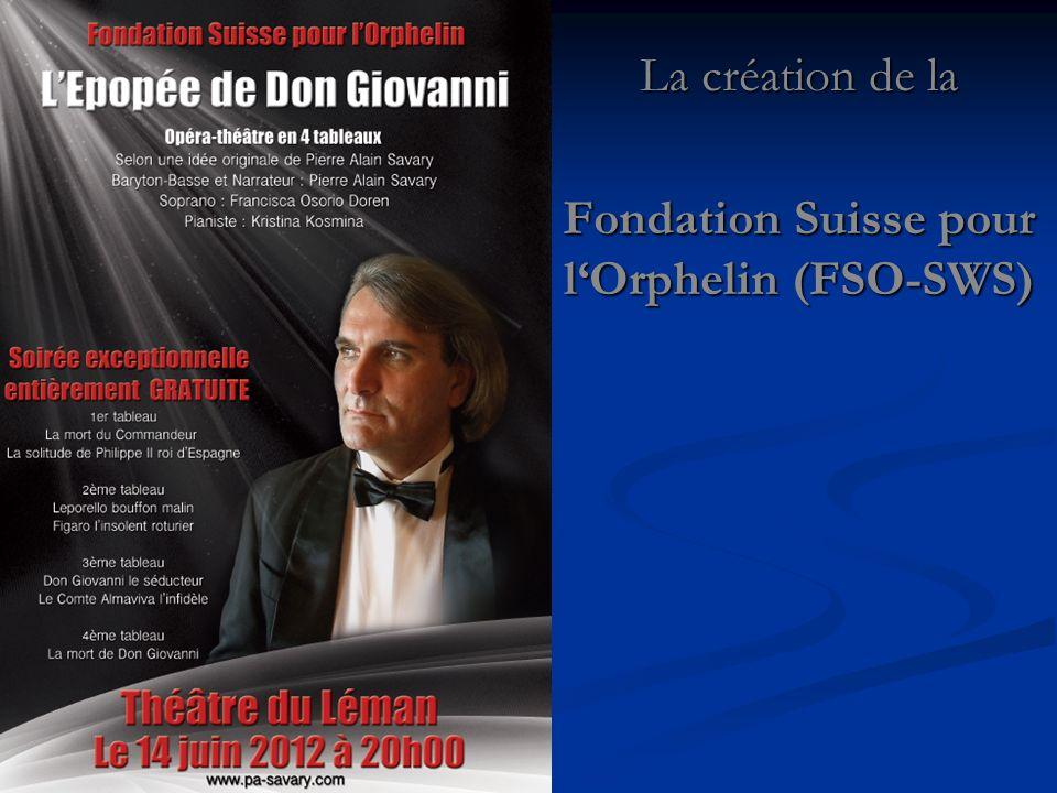 La création de la Fondation Suisse pour lOrphelin (FSO-SWS)