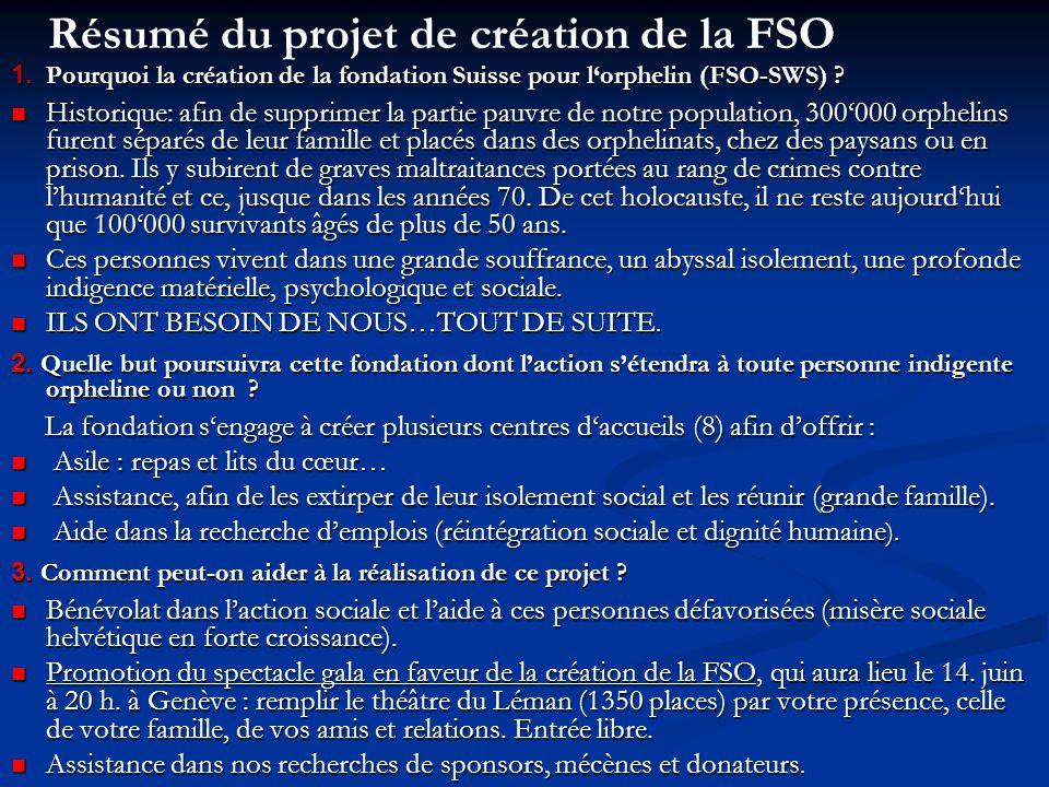 1. Pourquoi la création de la fondation Suisse pour lorphelin (FSO-SWS) .
