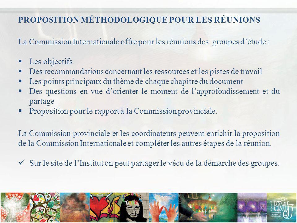 PROPOSITION MÉTHODOLOGIQUE POUR LES RÉUNIONS La Commission Internationale offre pour les réunions des groupes détude : Les objectifs Des recommandatio