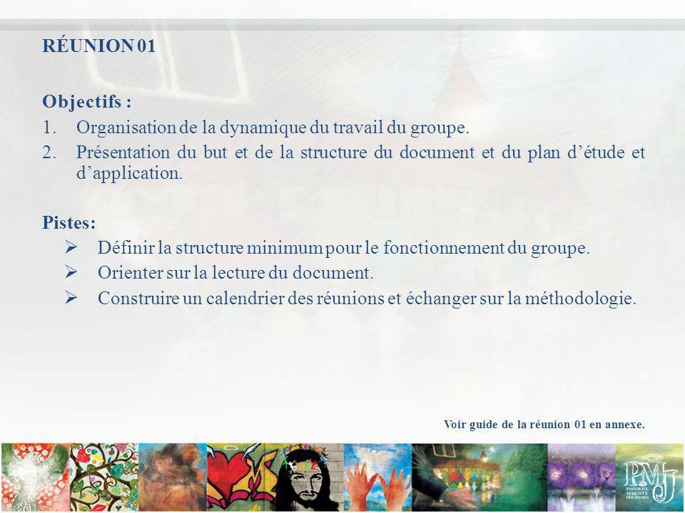 Objectifs : 1.Organisation de la dynamique du travail du groupe. 2.Présentation du but et de la structure du document et du plan détude et dapplicatio