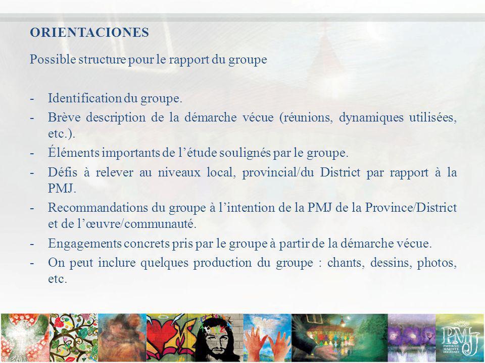 Possible structure pour le rapport du groupe -Identification du groupe. -Brève description de la démarche vécue (réunions, dynamiques utilisées, etc.)