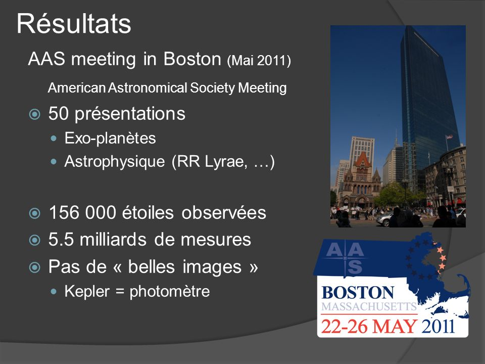 Résultats AAS meeting in Boston (Mai 2011) American Astronomical Society Meeting 50 présentations Exo-planètes Astrophysique (RR Lyrae, …) 156 000 éto