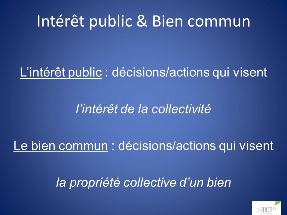 Intérêt public & Bien commun Lintérêt public : décisions/actions qui visent lintérêt de la collectivité Le bien commun : décisions/actions qui visent la propriété collective dun bien