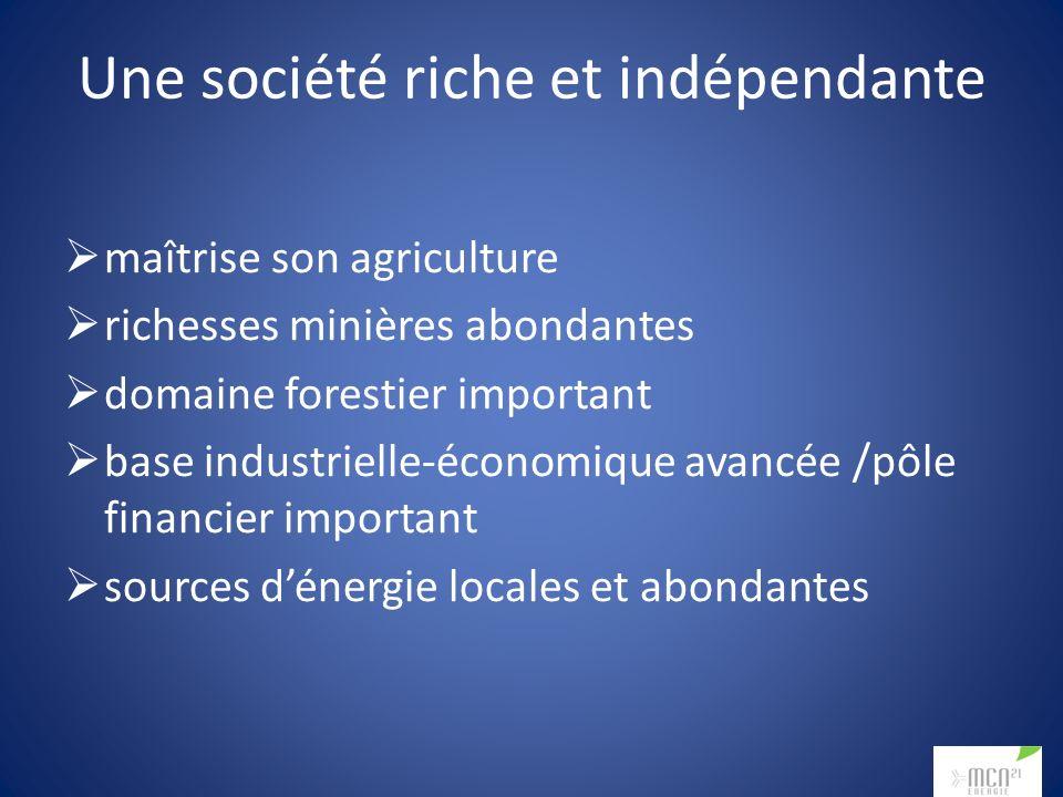 Une société riche et indépendante maîtrise son agriculture richesses minières abondantes domaine forestier important base industrielle-économique avancée /pôle financier important sources dénergie locales et abondantes