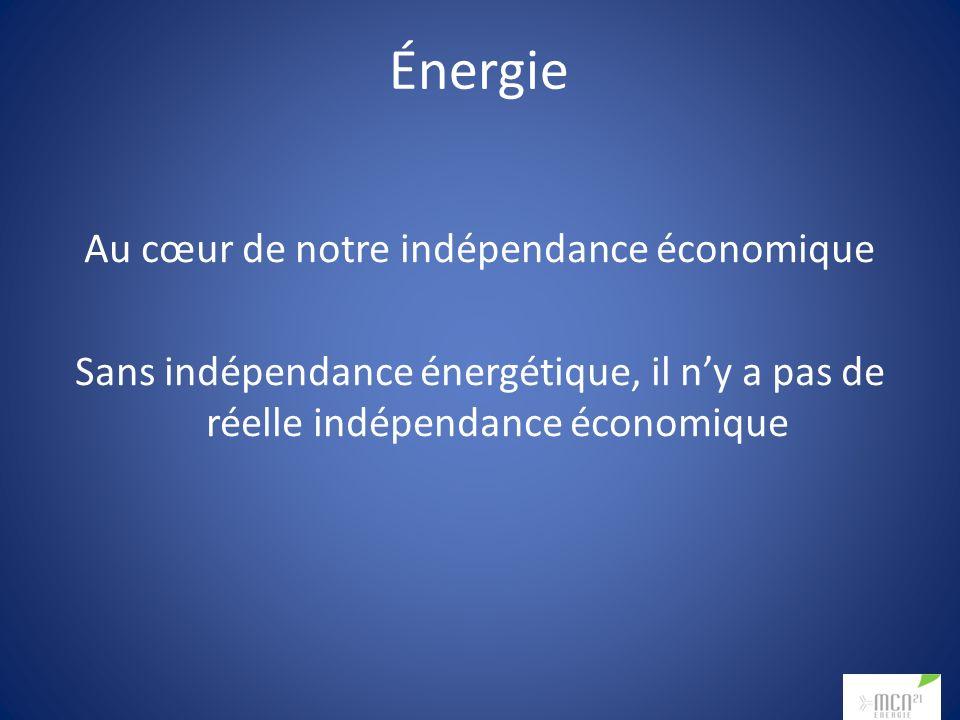Énergie Au cœur de notre indépendance économique Sans indépendance énergétique, il ny a pas de réelle indépendance économique