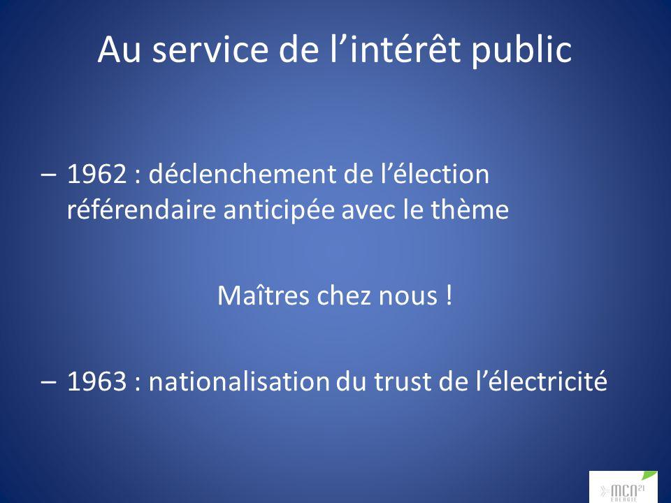 Au service de lintérêt public –1962 : déclenchement de lélection référendaire anticipée avec le thème Maîtres chez nous ! –1963 : nationalisation du t
