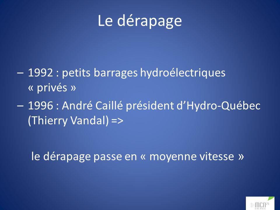 Le dérapage –1992 : petits barrages hydroélectriques « privés » –1996 : André Caillé président dHydro-Québec (Thierry Vandal) => le dérapage passe en « moyenne vitesse »