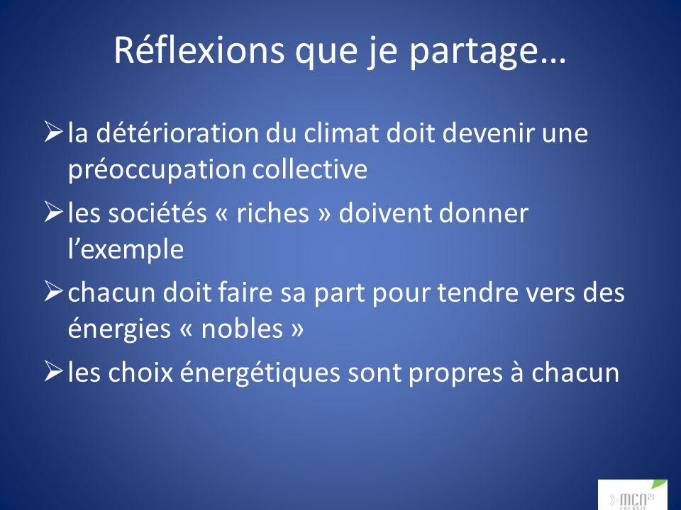 Réflexions que je partage… la détérioration du climat doit devenir une préoccupation collective les sociétés « riches » doivent donner lexemple chacun doit faire sa part pour tendre vers des énergies « nobles » les choix énergétiques sont propres à chacun
