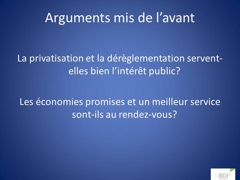 Arguments mis de lavant La privatisation et la dérèglementation servent- elles bien lintérêt public? Les économies promises et un meilleur service son