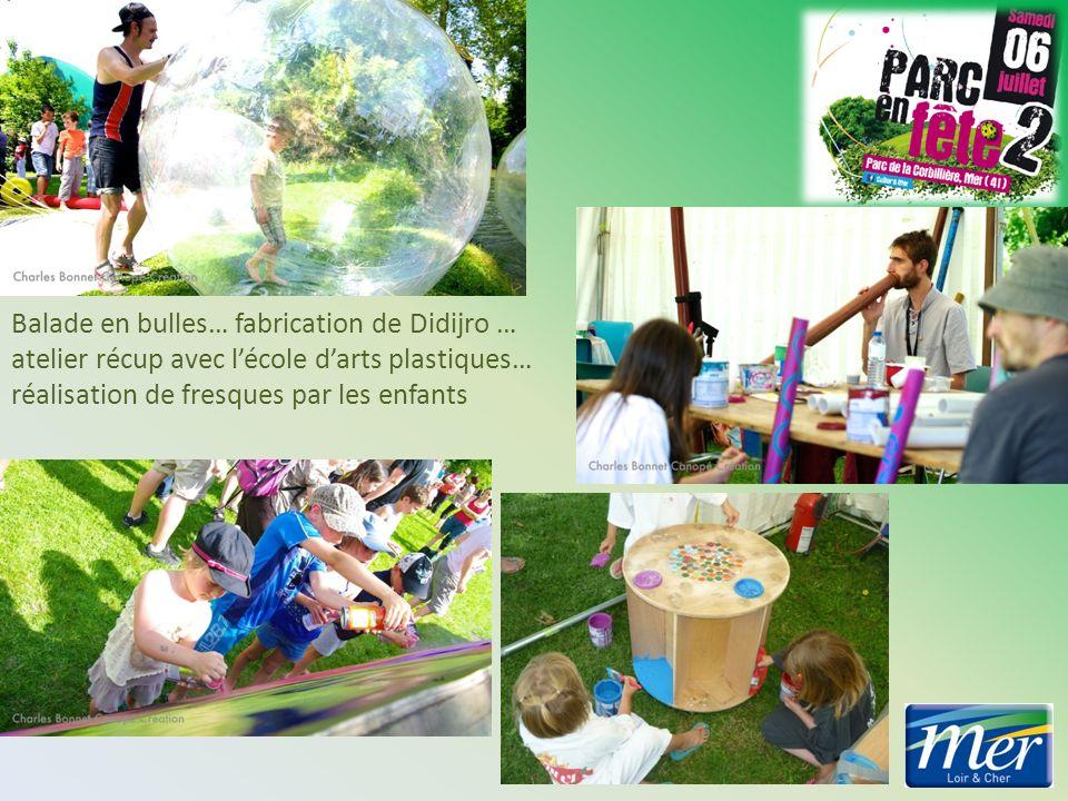 Balade en bulles… fabrication de Didijro … atelier récup avec lécole darts plastiques… réalisation de fresques par les enfants