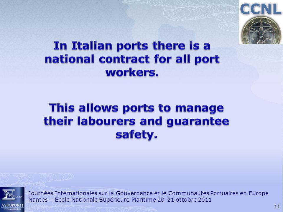 11 Journées Internationales sur la Gouvernance et le Communautes Portuaires en Europe Nantes – Ecole Nationale Supérieure Maritime 20-21 ottobre 2011