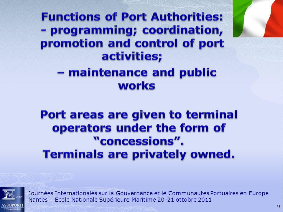 10 Journées Internationales sur la Gouvernance et le Communautes Portuaires en Europe Nantes – Ecole Nationale Supérieure Maritime 20-21 ottobre 2011