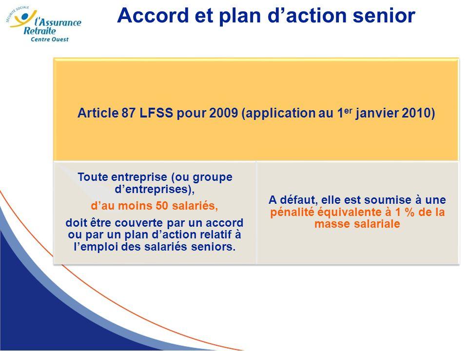 Accord et plan daction senior Article 87 LFSS pour 2009 (application au 1 er janvier 2010) Toute entreprise (ou groupe dentreprises), dau moins 50 sal