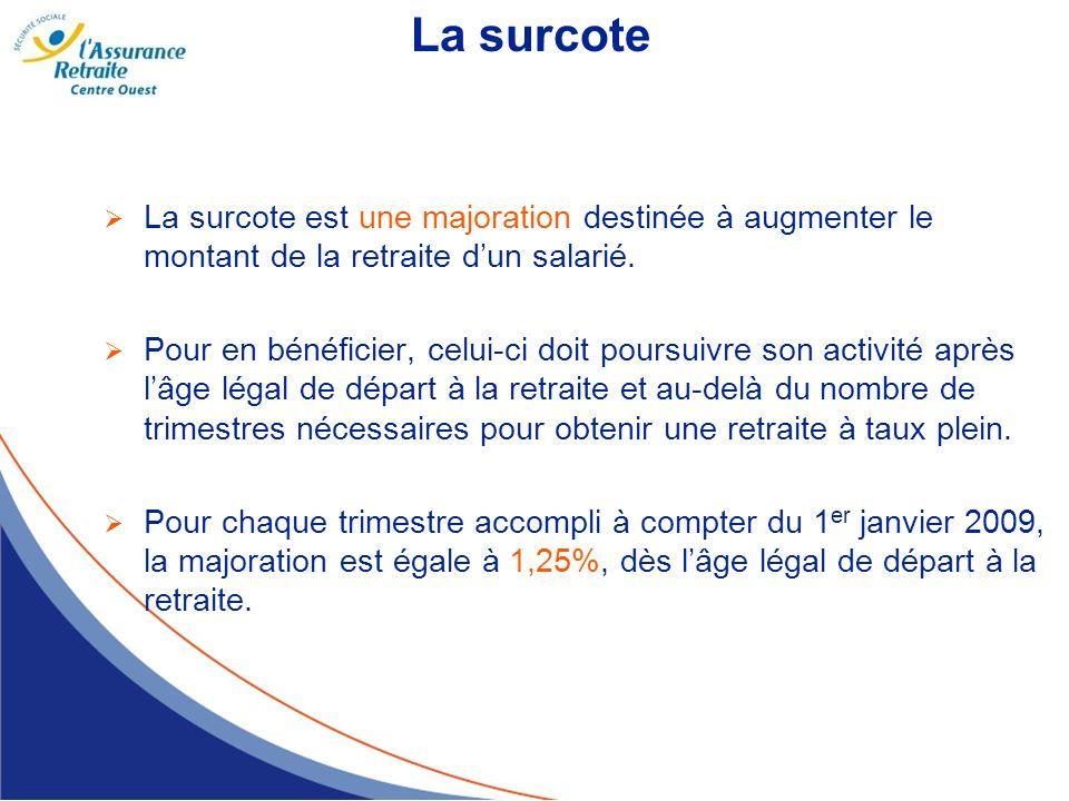 La surcote La surcote est une majoration destinée à augmenter le montant de la retraite dun salarié. Pour en bénéficier, celui-ci doit poursuivre son