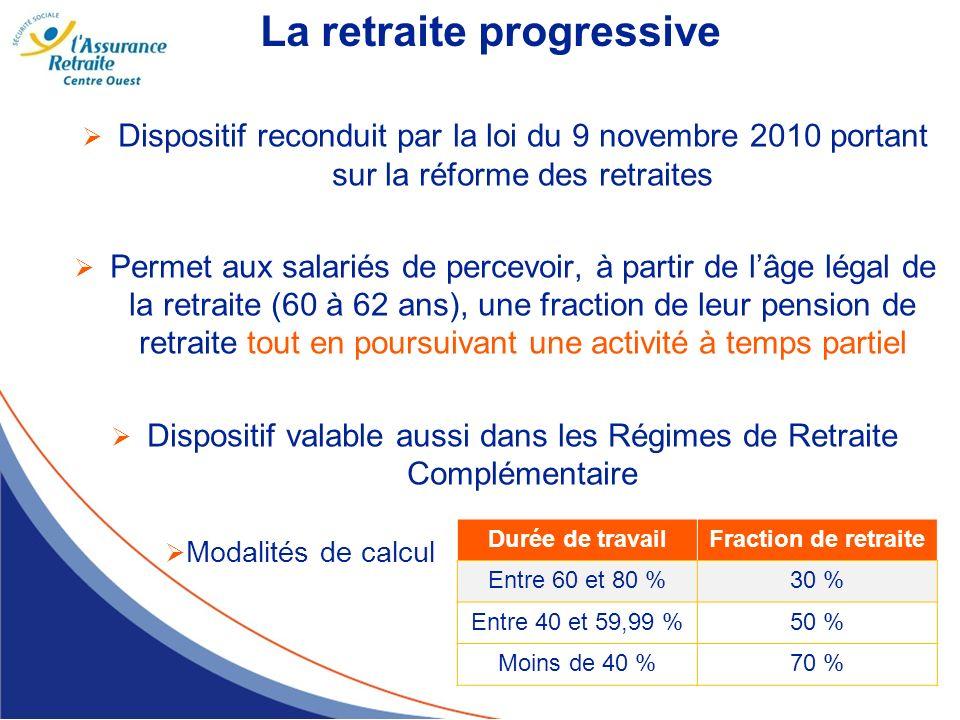 La retraite progressive Dispositif reconduit par la loi du 9 novembre 2010 portant sur la réforme des retraites Permet aux salariés de percevoir, à pa