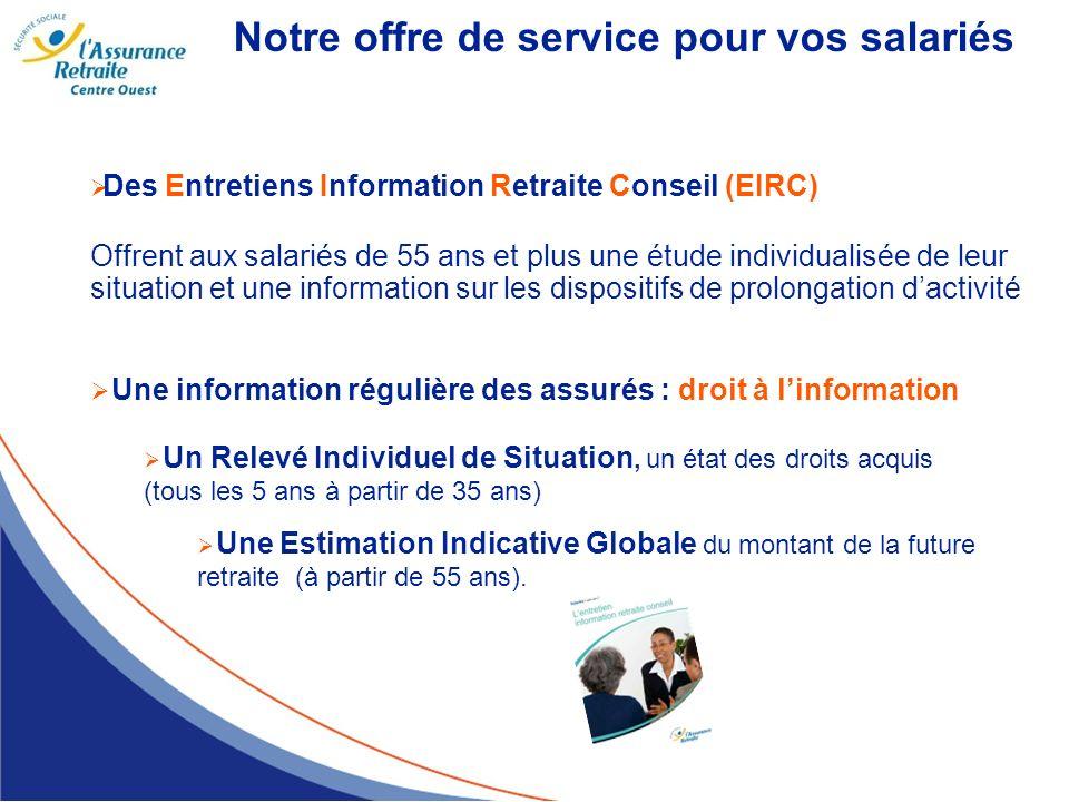 Notre offre de service pour vos salariés Des Entretiens Information Retraite Conseil (EIRC) Offrent aux salariés de 55 ans et plus une étude individua