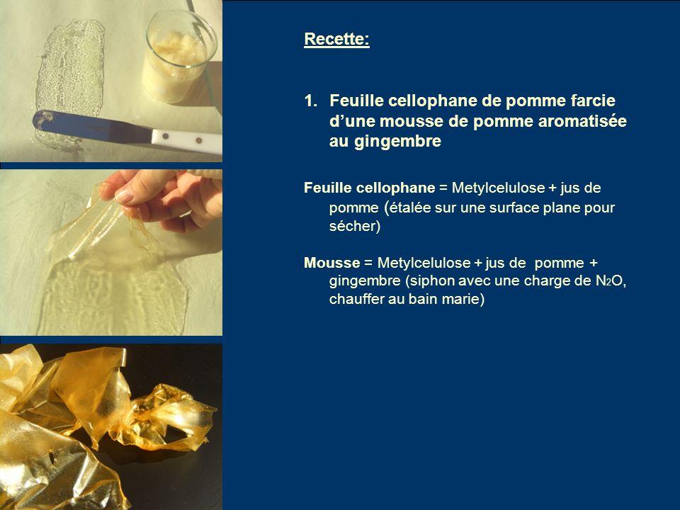 Recette: 1.Feuille cellophane de pomme farcie dune mousse de pomme aromatisée au gingembre Feuille cellophane = Metylcelulose + jus de pomme ( étalée