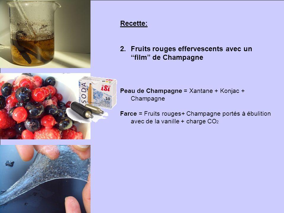 Recette: 2.Fruits rouges effervescents avec un film de Champagne Peau de Champagne = Xantane + Konjac + Champagne Farce = Fruits rouges+ Champagne por
